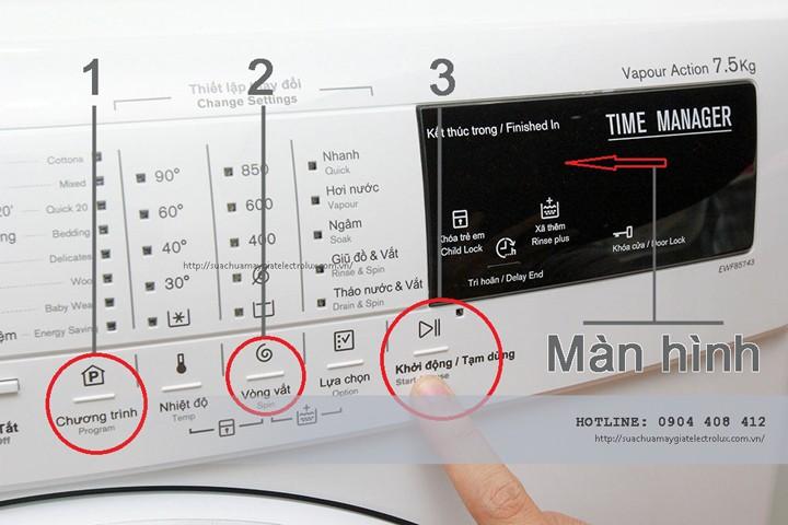 Chế độ vắt của máy giặt Electroluxkhông cóđồng hồ chọn chương trình