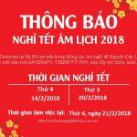 Lịch nghỉ tết 2018 của trạm bảo hành Electrolux tại Hà Nội