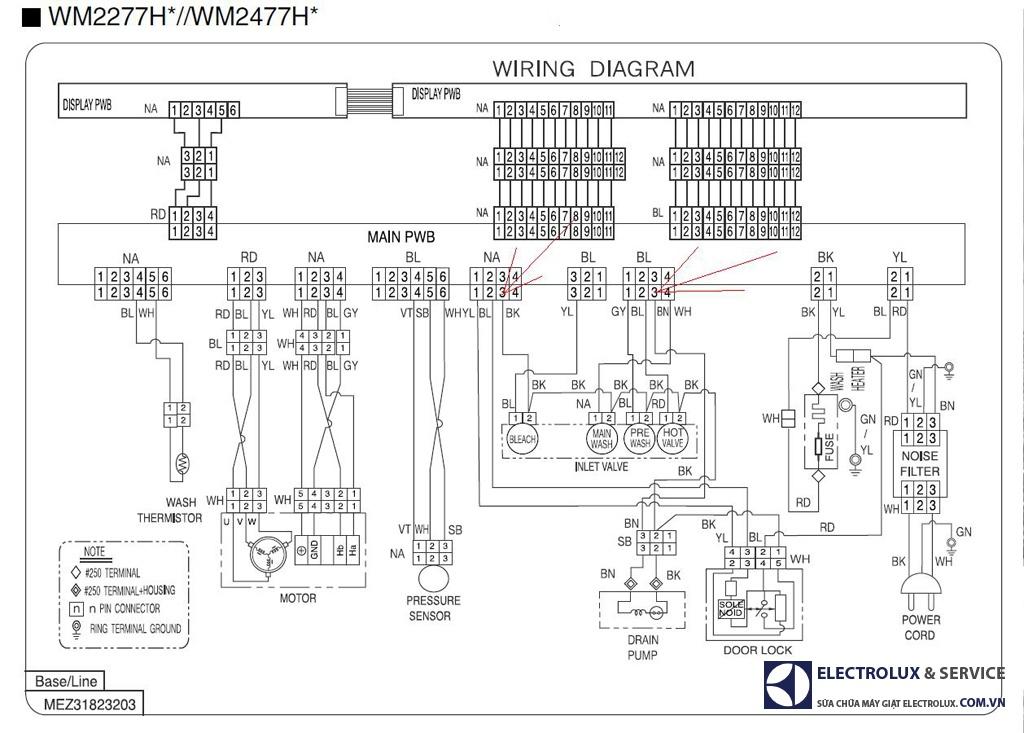 Sơ đồ mạch điện máy giặt LG